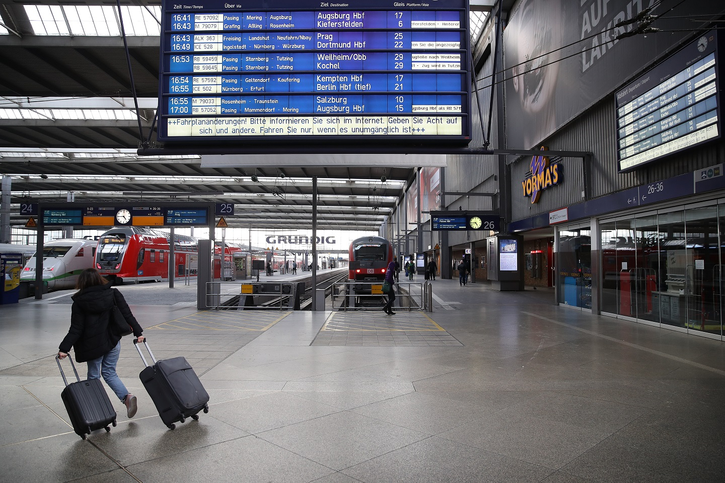 A photograph of a woman is seen at the Munich Main Station during the coronavirus crisis on March 31, 2020 in Munich, Germany.