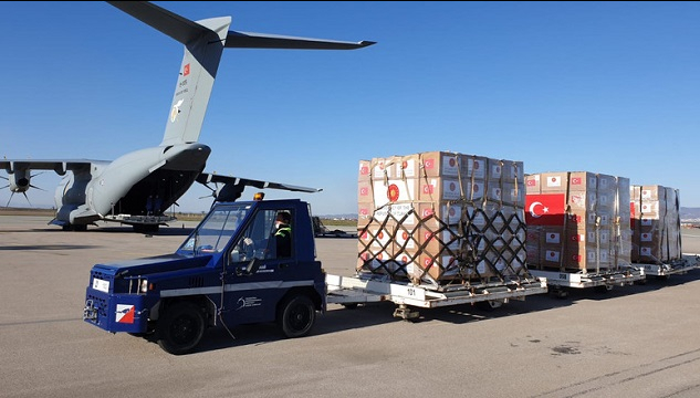 An A-400M cargo plane of the Turkish Air Force carrying medical supplies donated by Turkey was dispatched to a number of Allies and partners in the Balkans region on Wednesday, April, 8, 2020.