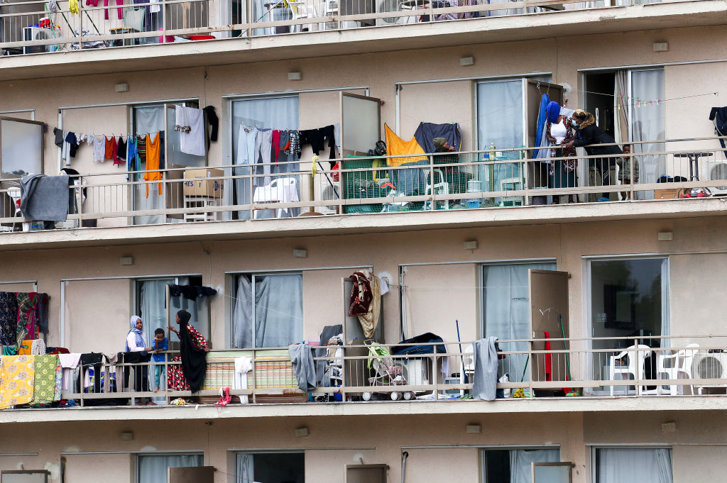 The balconies of hotel rooms hotel where 470 migrants are currently living on April 22, 2020 in Kranidi, Greece. (Photo by Milos Bicanski/Getty Images)