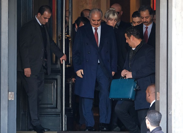 Libyan Field Marshall Khalifa Haftar (C) departs from the Hotel de Rome on January 21, 2020 in Berlin, Germany.