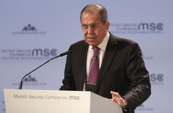 Russia's Foreign Minister Sergej Lavrov gives his speech during the 55th Munich Security Conference (MSC) on February 16, 2019 in Munich, Germany.