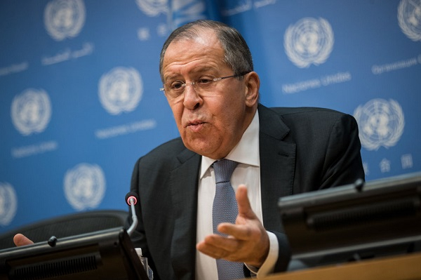 Foreign Minister of Russia Sergey Lavrov speaks during a press conference at United Nations headquarters, January 19, 2018 in New York City.