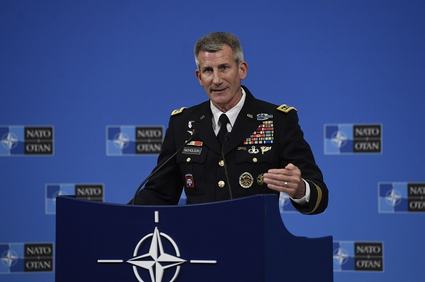 Press conference by Resolute Support Mission Commander Gen. John W. Nicholson at the meetings of NATO Defence Ministers, Brussels, June 8, 2018.