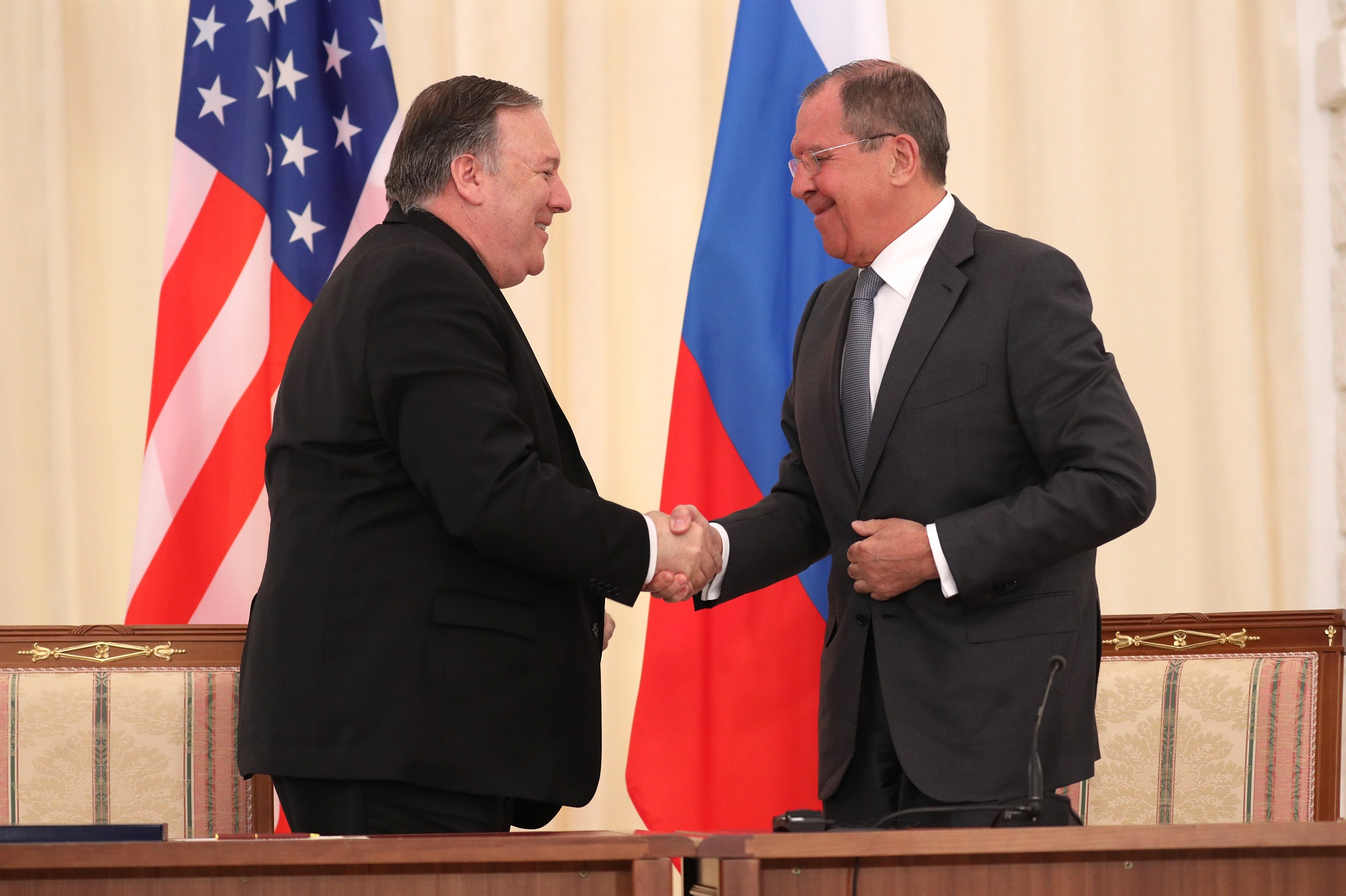 A photograph of Foreign Minister Sergey Lavrov's remarks and answers to media questions at a joint news conference following talks with US Secretary of State Mike Pompeo, Sochi, May 14, 2019.