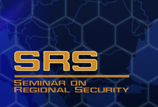 Graphic for Seminar on Regional Security, EU map and EU flag