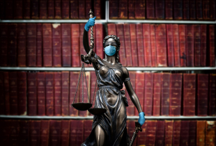 Lady justice. Statue of Justice in library.