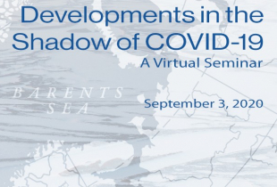 A map with the wording High North Security, Developments in the Shadow of COVID-19, A Virtual Seminar, September 3, 2020