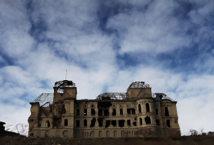 The destroyed remains of the Darulaman Palace, or Royal Palace, in Kabul, Afghanistan