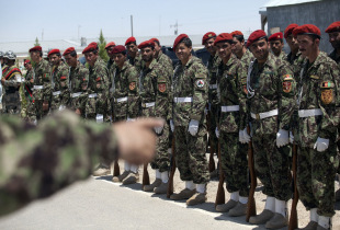 A row of Afghan Army soldiers attend a security transition ceremony
