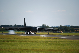 A B-52 Stratofortress from the 307th Bomb Wing, Air Force Reserve Command, Barksdale, La. touches down at RAF Fairford,United Kingdom, August 30, 2016. . The B-52 redeployed to RAF Fairford after participating in the Slovak International Air Fest.