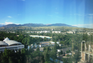 A photo of the landscape from the Dushanbe Hyatt Hotel in Dushanbe, Tajikistan.