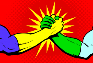 A retro pop art style illustration of two superheroes shaking hands bro-handshake style with halftone pattern in the background.