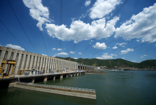 Picture shows the the Djerdap I Hydroelectric power station near Kladovo, 250 kilometres east of Belgrade on July 24, 2013. Djerdap I Hydroelectric Power Station is the largest dam on the Danube river and one of the largest hydro power plants in Europe. It is located on the Iron Gate gorge, between Romania and Serbia.