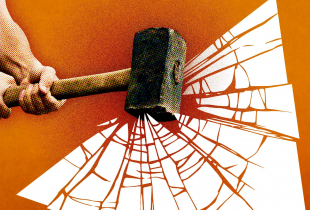 A graphic of a hammer breaking glass.