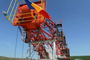 A Romanian national flag hanging on a drilling equipment at the first gas shale exploring site in Pungesti.