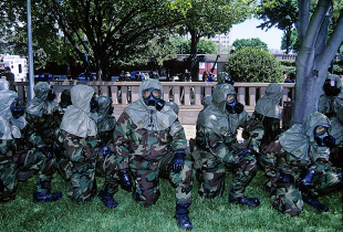 Members of the US Marine Biohazard response team during a mock drill at the US. Capitol.