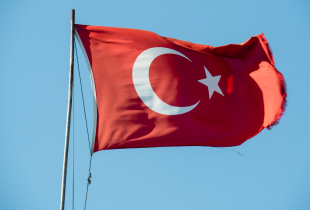 Turkish flag blowing in the wind.