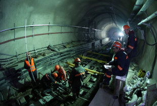 Employees work in the Marmaray Tunnel under the Bosphorus