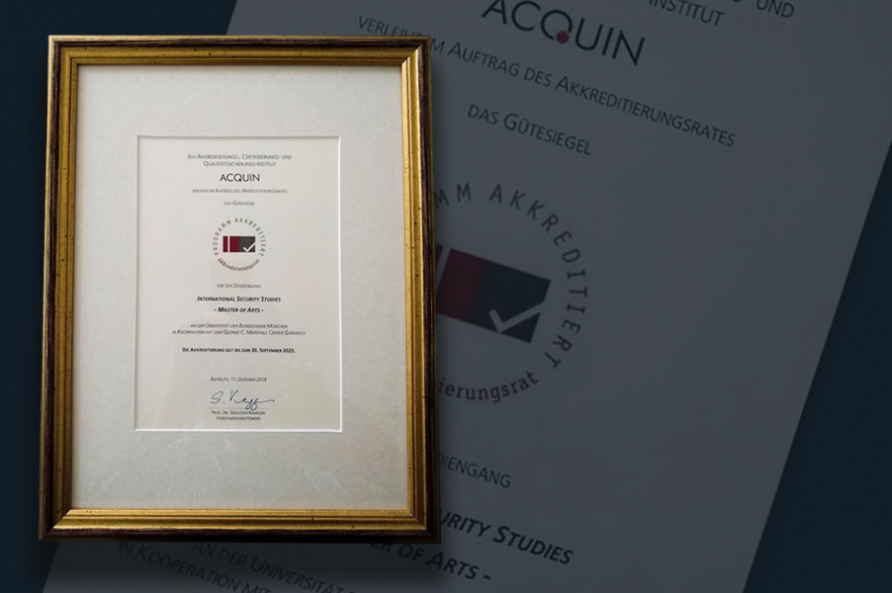 A photograph of the accreditation certificate for the Master of Arts Program in International Security Studies (MISS).