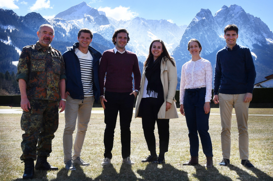 A photograph of Interns with the Zugspitze Mountain in the background.