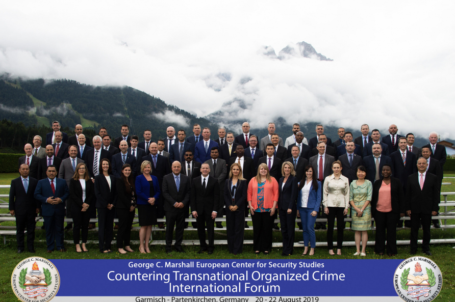 A group photo of participants in the Countering Transnational Organized Crime International Forum at the George C. Marshall Center for Security Studies, August, 2019.