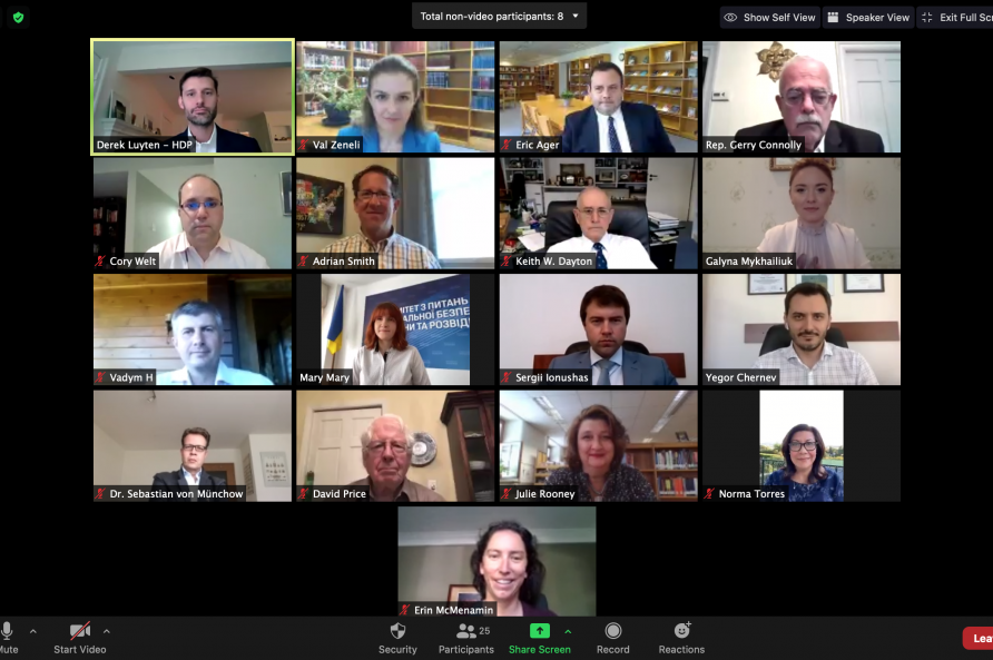 A screen shot from a computer screen showing the participants from the virtual seminar the COVID-19 Pandemic and the Role of Legislators.