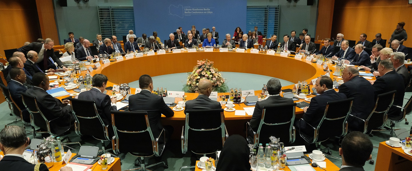 The main session at an international summit on securing peace in Libya at the Chancellery begins on January 19, 2020 in Berlin, Germany. Leaders of nations and organizations linked to the current conflict are meeting to discuss measures towards reaching a consensus between the warring sides and ending hostilities.
