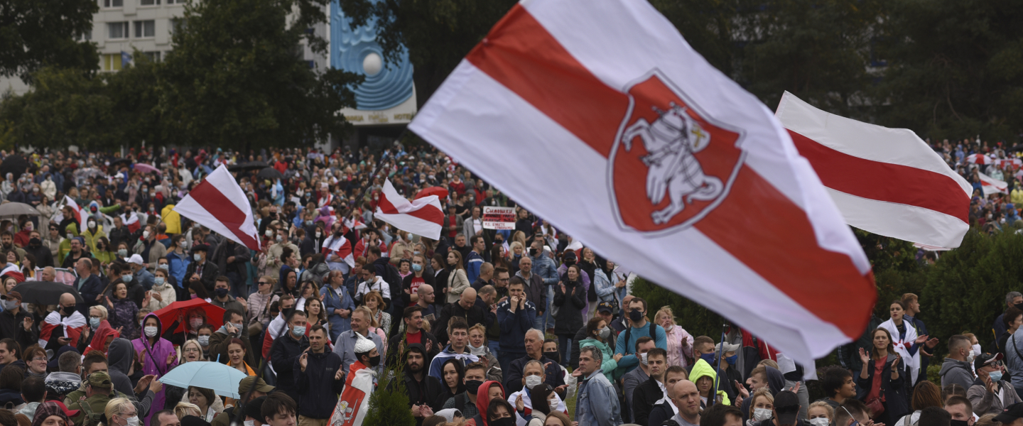 Belarusian opposition supporters take part in a rally against presidential election results as they march from Nemiga Avenue to Stella Square in central Minsk, Belarus on September 28, 2020.
