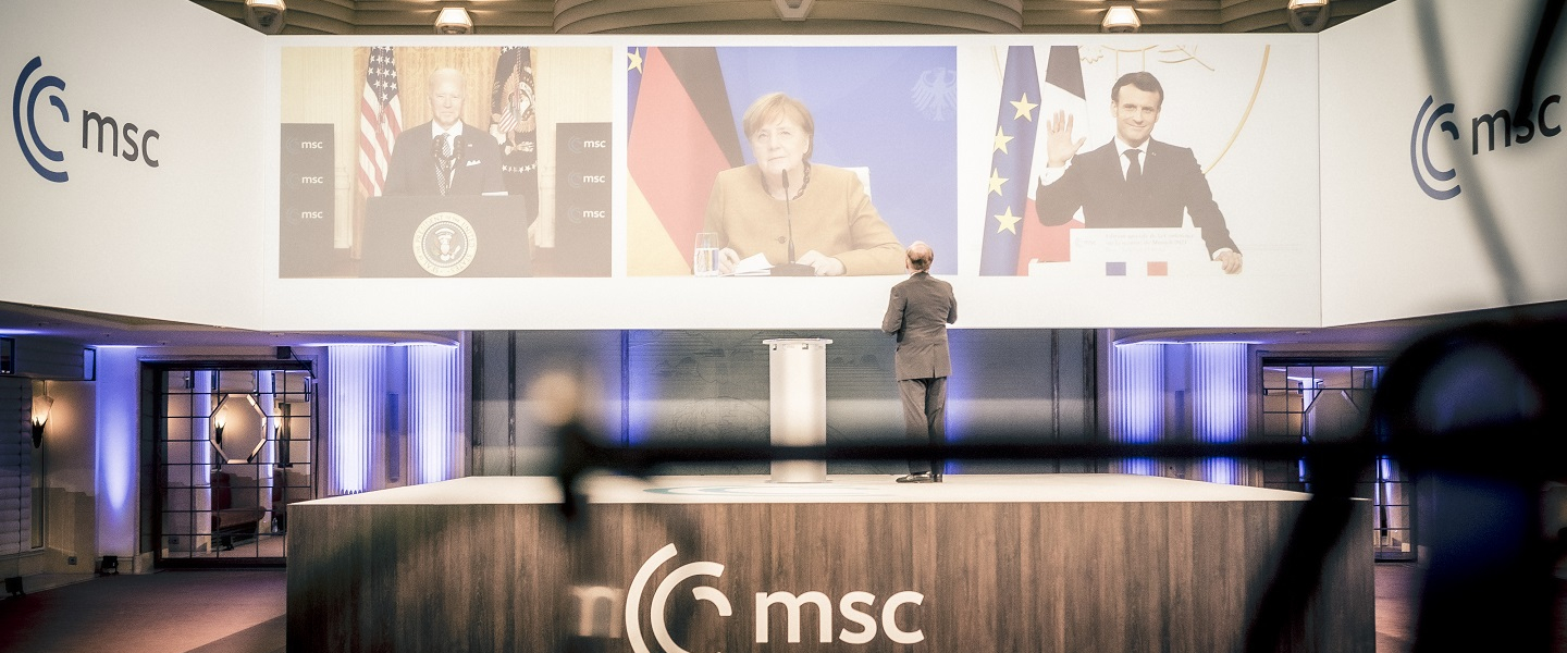 Photograph from Munich Security Conference on February 19, 2021.